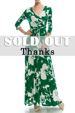 Floral,in,kelly,green,maxi,wrap,dress,red apparel, Janette fashion, Janette, Floral in kelly green maxi wrap dress