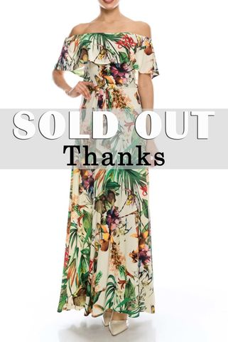 Floral,in,jungle,off,the,shoulder,maxi,dress,red apparel, Janette fashion, Floral in jungle off the shoulder maxi dress