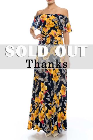 Flower,in,gold,navy,off,the,shoulder,maxi,dress,red apparel, Janette fashionFlower in gold navy off the shoulder maxi dress