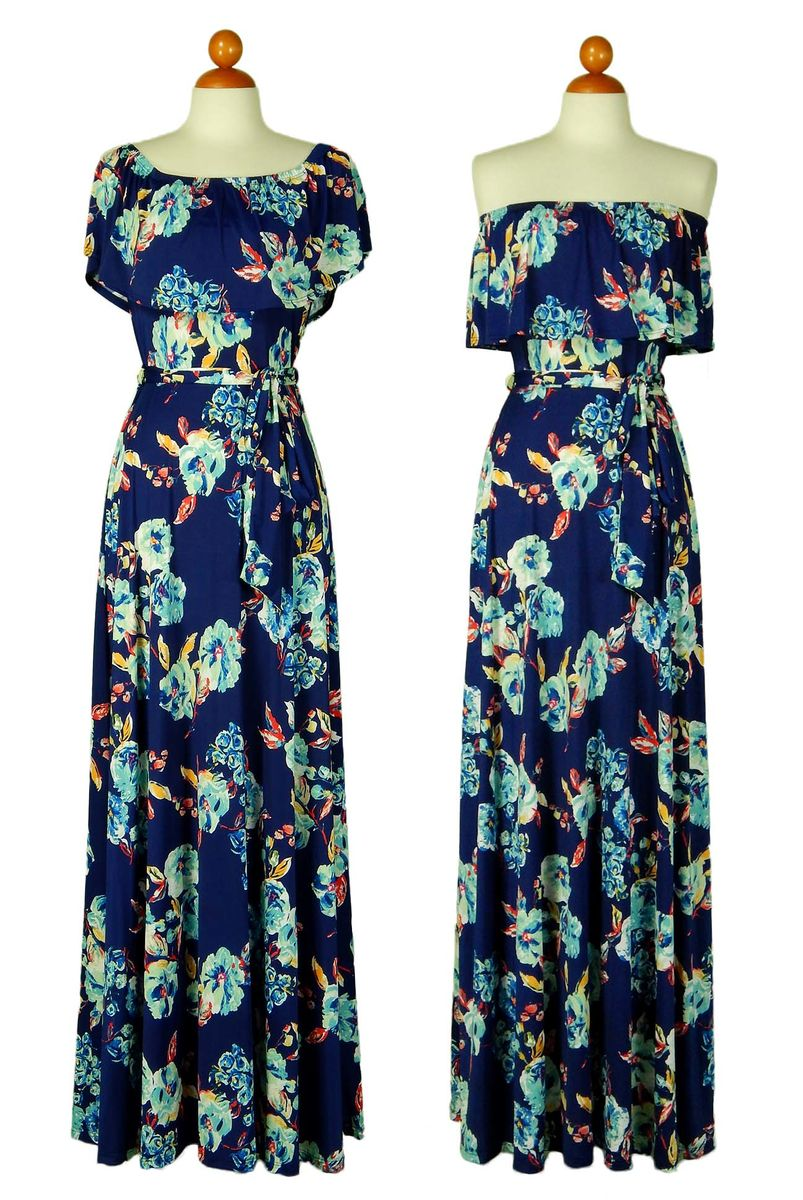 English garden in blue off the shoulder maxi dress - product images  of
