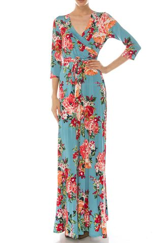 Shanon,floral,in,blue,maxi,wrap,dress,Shanon floral in blue maxi wrap dress  , redapparelonline, 6ws, Janette fashion, Janette, Maxi wrap dress, wrap dress, work dress, vacation dress, affordable wrap dress