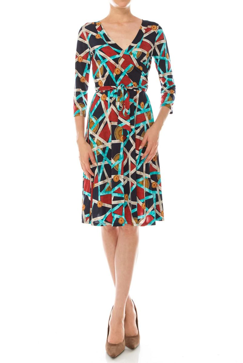 Roman in lines wrap dress - product images  of