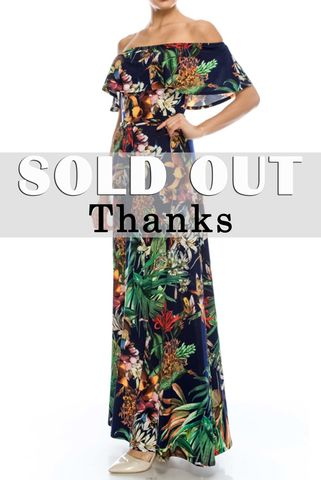 Floral,in,jungle,navy,off,the,shoulder,maxi,dress,red apparel, Janette fashion, Floral in jungle in navy off the shoulder maxi dress