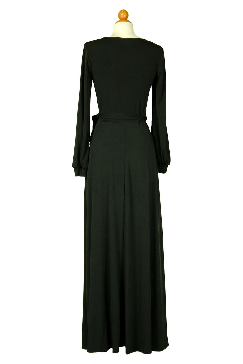 Black round neck long cuff sleeve maxi dress - product images  of