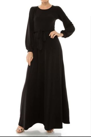 Black,round,neck,long,cuff,sleeve,maxi,dress,red apparel, Janette fashion, Janette, Black round neck long cuff sleeve maxi dress