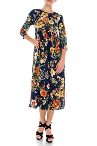 Hibiscus,in,midnight,round,neck,dress,with,pockets,red apparel, Janette fashion, Janette, Violet floral knee length dress, strap dress