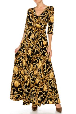Romanian,in,black,gold,maxi,wrap,dress,Romanian in black gold maxi wrap dress  , red apparel, redapparelonline, 6ws, Janette fashion, Janette, Maxi wrap dress, wrap dress. work dress, vacation dress, affordable dress