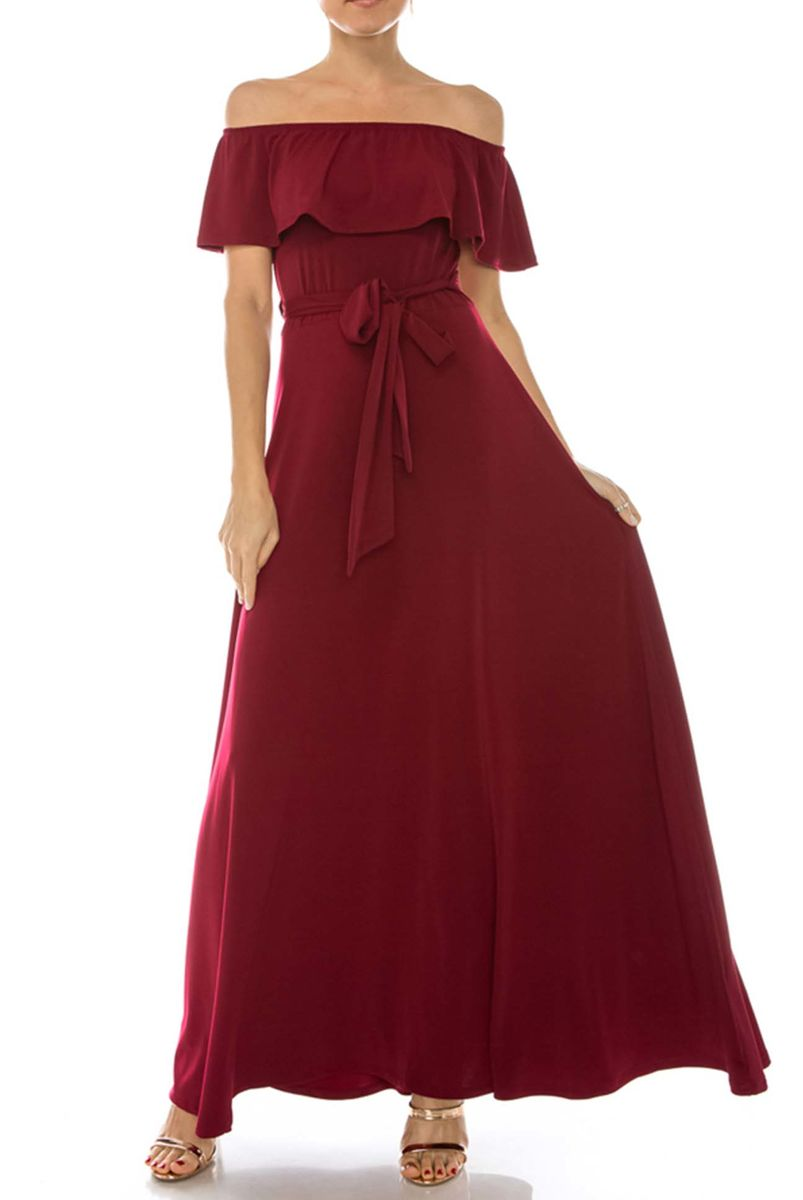 69c896fc392e ... Burgundy off the shoulder maxi dress - product images of ...