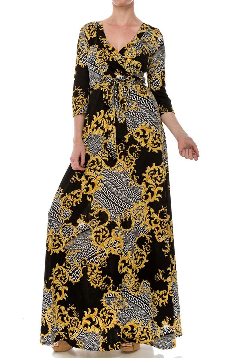 ... Versace print maxi wrap dress - product images ...