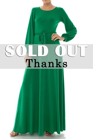 Green,round,neck,long,cuff,sleeve,maxi,dress,red apparel, Janette fashion, Janette, Green round neck long cuff sleeve maxi dress