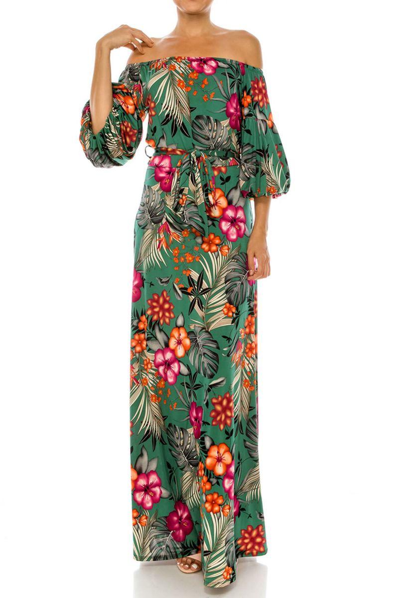 6ba846e42b ... Paradise jungle blossom off the shoulder puff sleeve maxi dress -  product images of ...