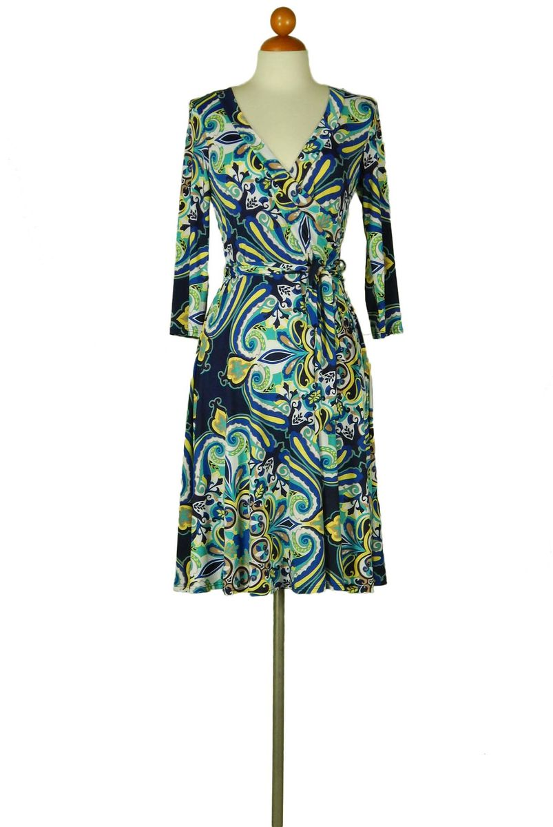 Fleur de lis in navy wrap dress - product images  of