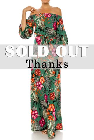 Paradise,jungle,blossom,off,the,shoulder,puff,sleeve,maxi,dress,red apparel, English garden in blue off the shoulder maxi dress