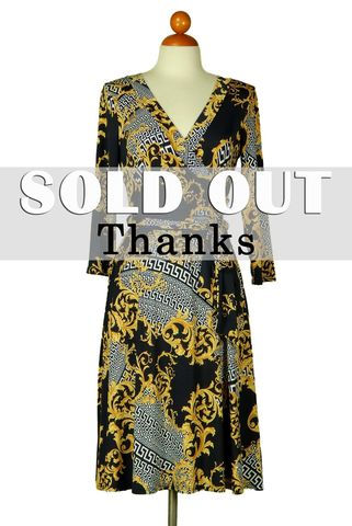 Versace,print,in,navy,wrap,dress,red apparel, Versace print in navy wrap dress, wrap dress