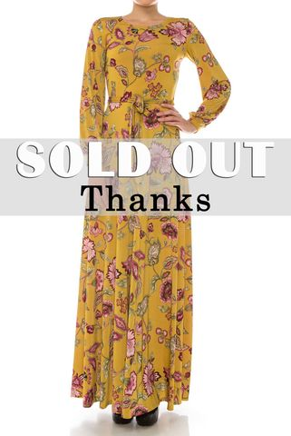 Lily,round,neck,in,mustard,long,cuff,sleeve,maxi,dress,red apparel, Janette fashion, Janette, Lily round neck in mustard long cuff sleeve maxi dress