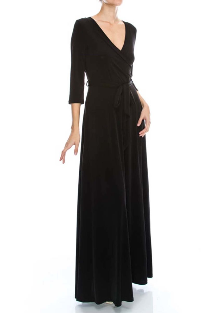 Black maxi wrap dress - product images  of