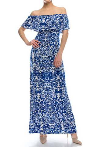 Moroccan,in,blue,off,the,shoulder,fitting,maxi,dress,red apparel, Janette fashion, Moroccan in blue off the shoulder fitting maxi dress