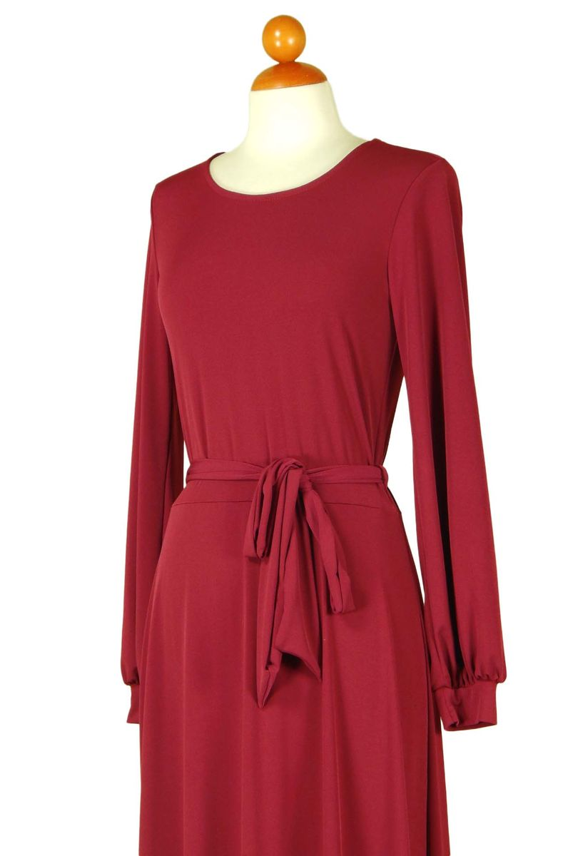 Cranberry round neck long cuff sleeve maxi dress - product images  of