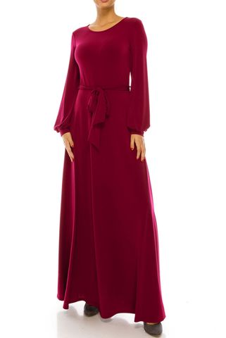 Cranberry,round,neck,long,cuff,sleeve,maxi,dress,red apparel, Janette fashion, Janette, cranberry round neck long cuff sleeve maxi dress