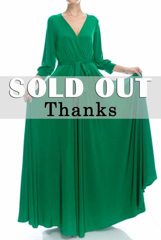 Green,3/4,cuff,sleeve,with,large,sweep,maxi,wrap,dress,green 3/4 cuff sleeve with large sweep maxi wrap dress, redapparelonline, 6ws, Janette fashion, Janette, Maxi wrap dress, wrap dress, work dress, vacation dress, affordable wrap dress