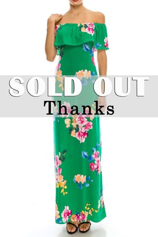 Blossom,in,green,off,the,shoulder,fitting,maxi,dress,red apparel, Janette fashion, Moroccan in blue off the shoulder fitting maxi dress