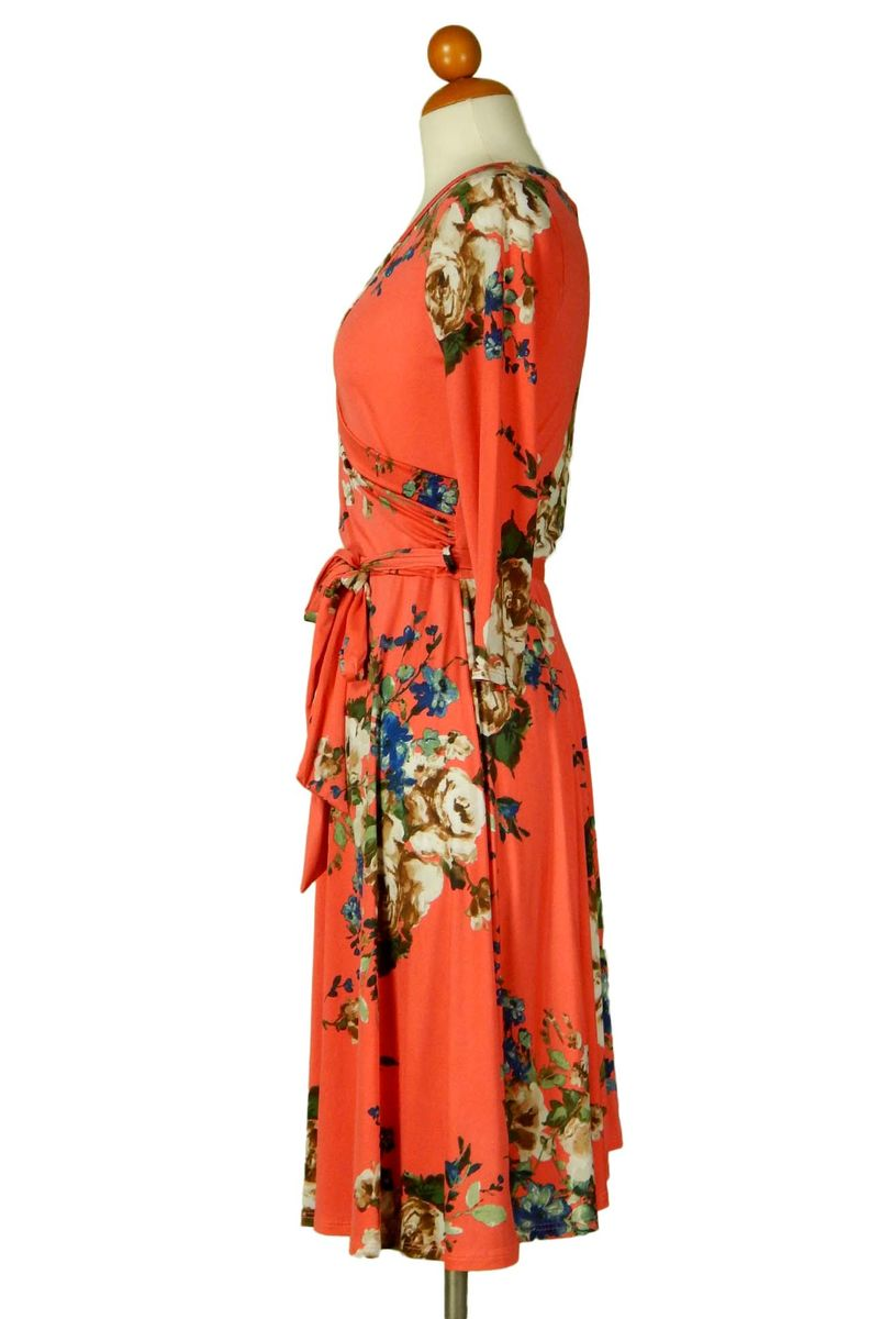 Brown rose in orange wrap dress - product images  of