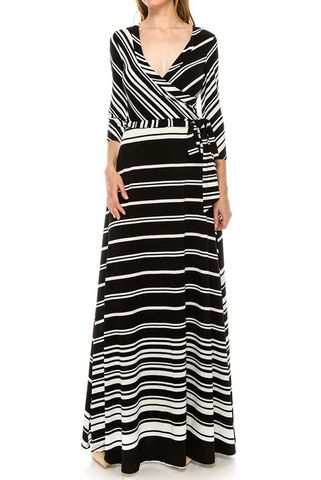 Pinstripes,in,black,maxi,wrap,dress,red apparel, Janette fashion, Janette, Pinstripes in black maxi wrap dress