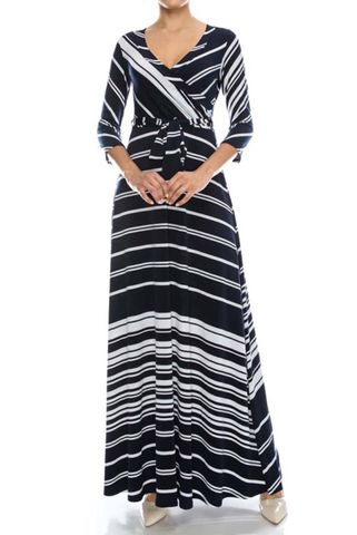 Pinstripes,in,navy,maxi,wrap,dress,red apparel, Janette fashion, Janette, Pinstripes in navy maxi wrap dress