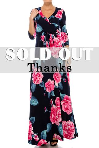 Pink,rose,in,navy,maxi,wrap,dress,Pink rose in navy maxi wrap dress , redapparelonline, 6ws, Janette fashion, Janette, Maxi wrap dress, wrap dress, work dress, vacation dress, affordable wrap dress