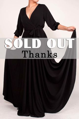 Black,3/4,cuff,sleeve,with,large,sweep,maxi,wrap,dress,Black 3/4 cuff sleeve with large sweep maxi wrap dress, redapparelonline, 6ws, Janette fashion, Janette, Maxi wrap dress, wrap dress, work dress, vacation dress, affordable wrap dress