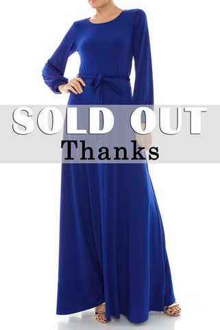 Royal,blue,round,neck,long,cuff,sleeve,maxi,dress,red apparel, Janette fashion, Janette, royal blue round neck long cuff sleeve maxi dress