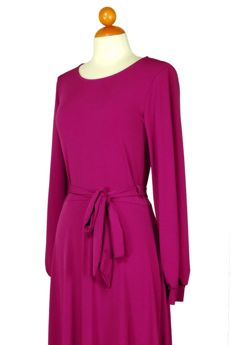 Magenta round neck long cuff sleeve maxi dress - product images  of