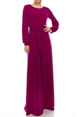 Magenta,round,neck,long,cuff,sleeve,maxi,dress,red apparel, Janette fashion, Janette, Magenta round neck long cuff sleeve maxi dress