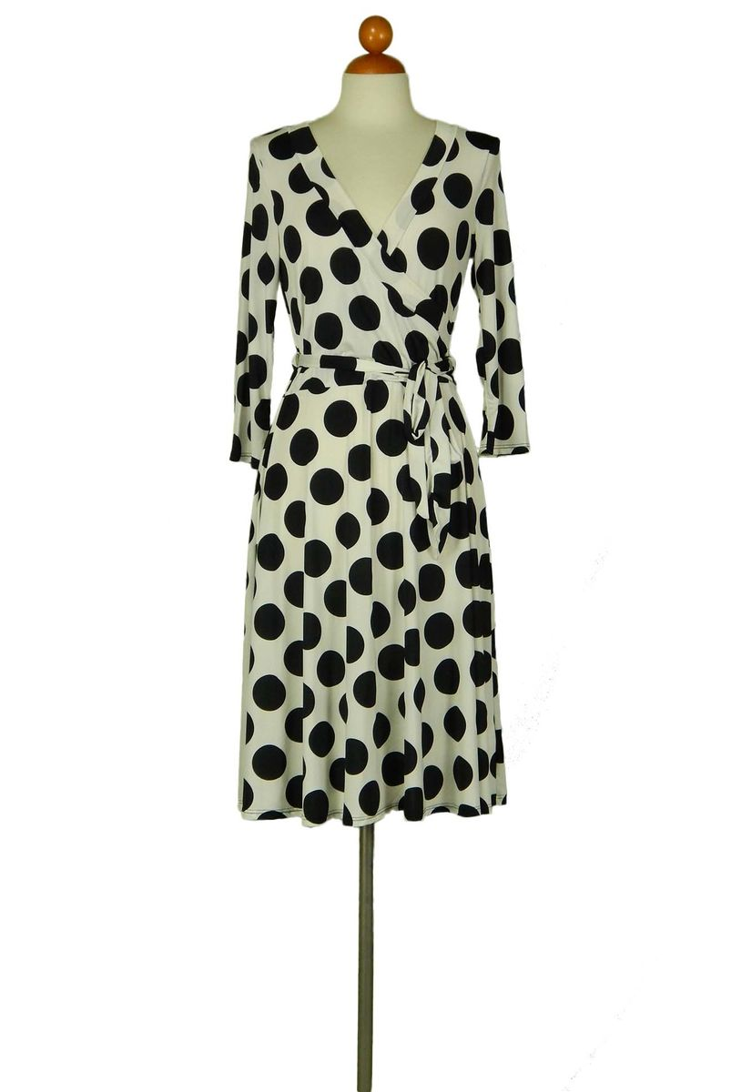 Polka dot melody in ivory wrap dress - product images  of