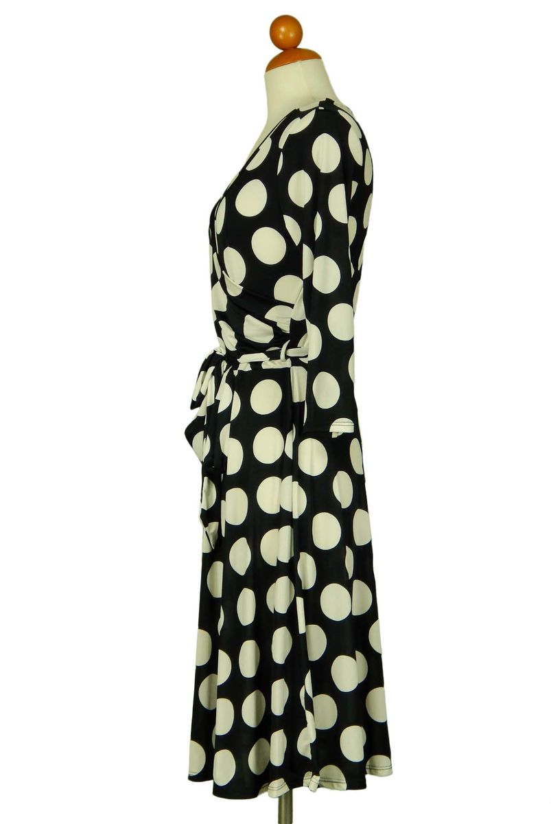 Polka dot melody in black wrap dress - product images  of
