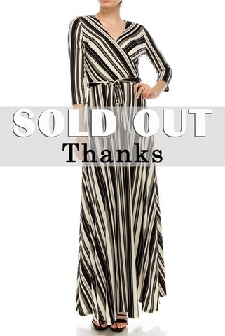 Black,grey,ivory,stripes,maxi,wrap,dress,red apparel, Janette fashion, Janette, Black grey ivory stripes maxi wrap dress, wrap dress