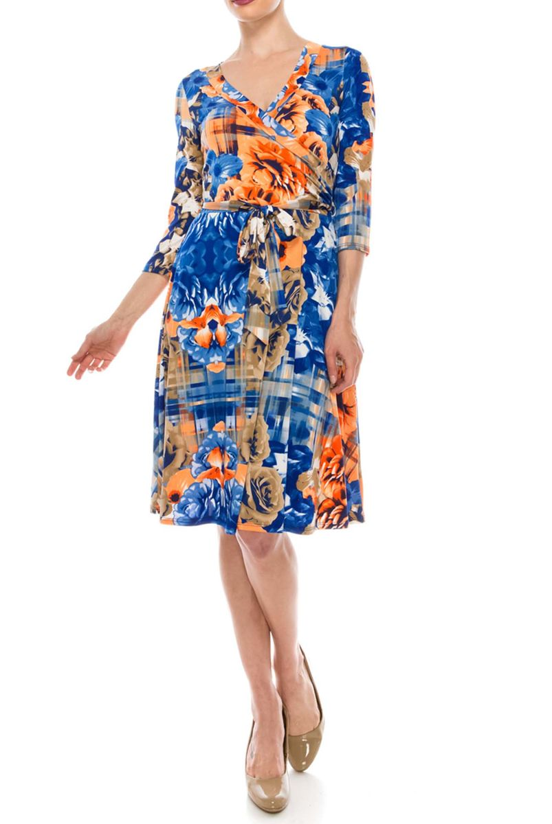 Blossom in sherbet orange blue wrap dress - product images  of