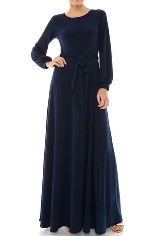 Navy,round,neck,long,cuff,sleeve,maxi,dress,red apparel, Janette fashion, Janette, Navy round neck long cuff sleeve maxi dress