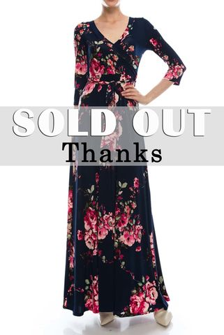 New,spring,floral,in,navy,maxi,wrap,dress,New spring floral in navy maxi wrap dress , red apparel, redapparelonline, 6ws, Janette fashion, Janette, Maxi wrap dress, wrap dress. work dress, vacation dress, affordable dress