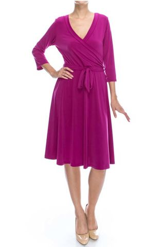 Magenta,wrap,dress,Magenta wrap dress, red apparel, wrap dress