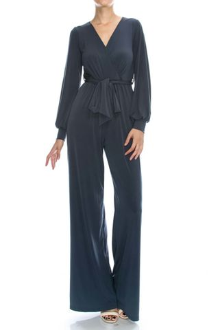 Charcoal,wrap,jump-suit,with,long,split,cuff,sleeves,Charcoal wrap jump-suit with long split cuff sleeves, red apparel, janette fashion, Janette fashion jumpsuit, Janette jumpsuitjamper
