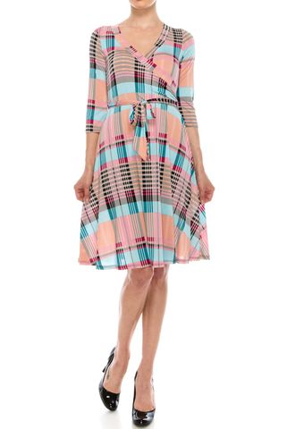 Line,in,sherbet,wrap,dress,Line in sherbet wrap dress, red apparel, wrap dress