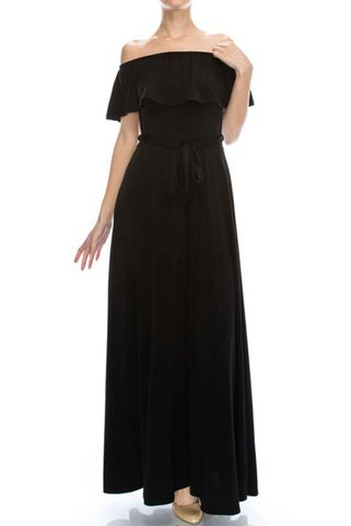 Black,off,the,shoulder,maxi,dress,red apparel, Janette fashion, Janette,Black off the shoulder maxi dress, strap dress