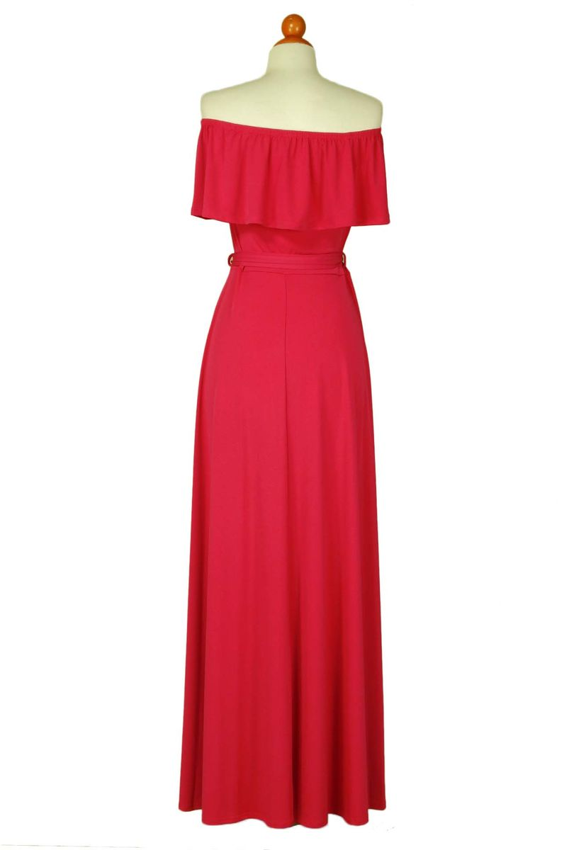 Fuchsia off the shoulder maxi dress - product images  of