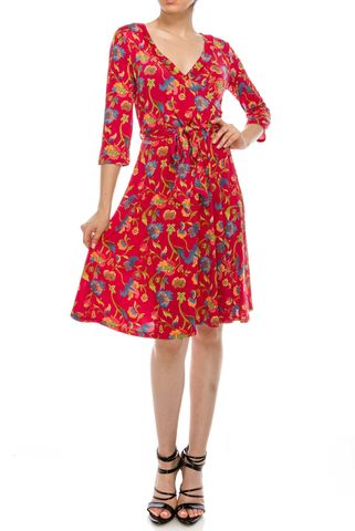 Flower,field,wrap,dress,Flower field wrap dress, red apparel, wrap dress