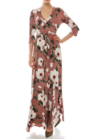 Creamy,magnolia,garden,maxi,wrap,dress,red apparel, Janette fashion, Creamy magnolia garden maxi wrap dress