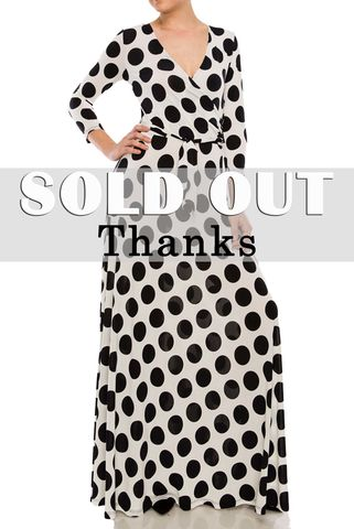 Polka,dot,with,tie,belt,in,ivory,maxi,wrap,dress,red apparel, Janette fashion, Janette, Polka dot with tie belt in ivory maxi wrap dress