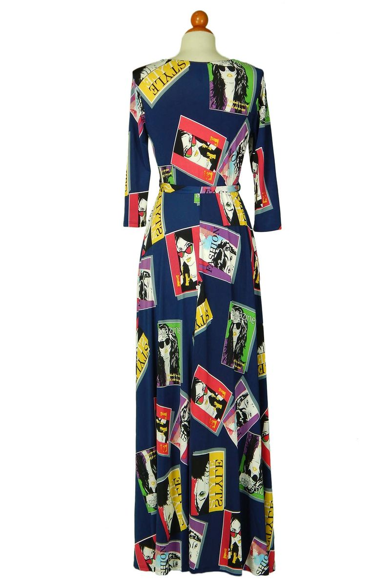 Magazine in navy maxi wrap dress  - product images  of