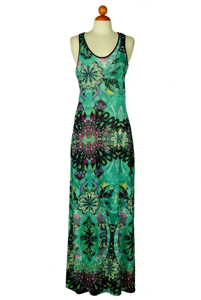Sleeveless deep neck floral in green maxi dress - product images  of