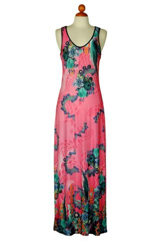 Sleeveless,deep,neck,floral,in,pink,maxi,dress,Dress